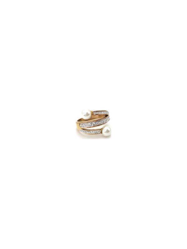 Γυναικείο Δαχτυλίδι χρυσό με πέτρες και πέρλα