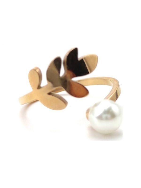 Γυναικείο Δαχτυλίδι χρυσό σε σχήμα φύλλου με πέρλα