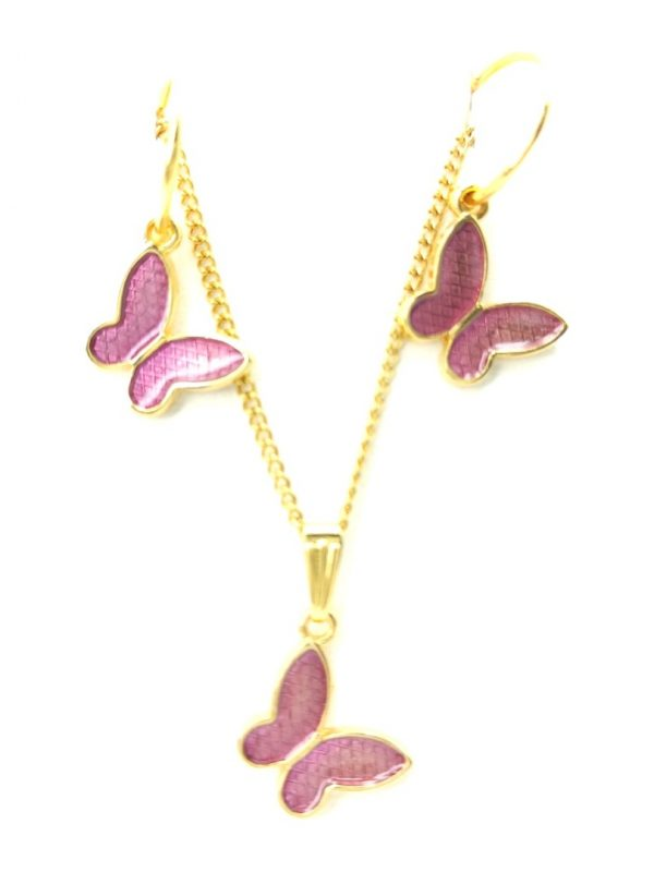 Γυναικείο Κολιέ χρυσό με μωβ πεταλούδες