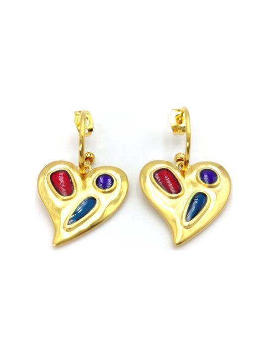 Γυναικεία Σκουλαρίκια χρυσά σε σχήμα καρδιάς