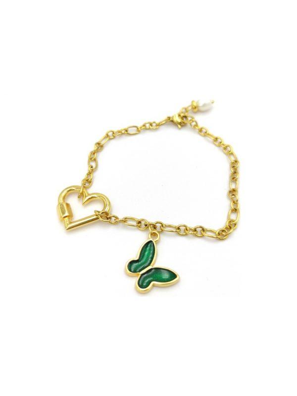 Γυναικείο Βραχιόλι χρυσό με καρδιά και πράσινη πεταλούδα