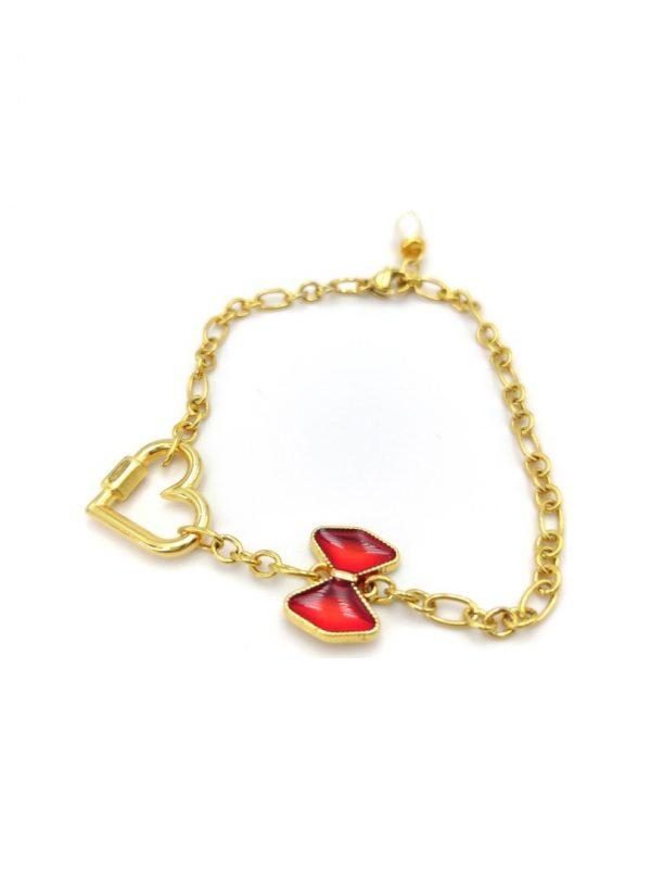 Γυναικείο Βραχιόλι χρυσό με καρδιά και κόκκινο φιόγκο