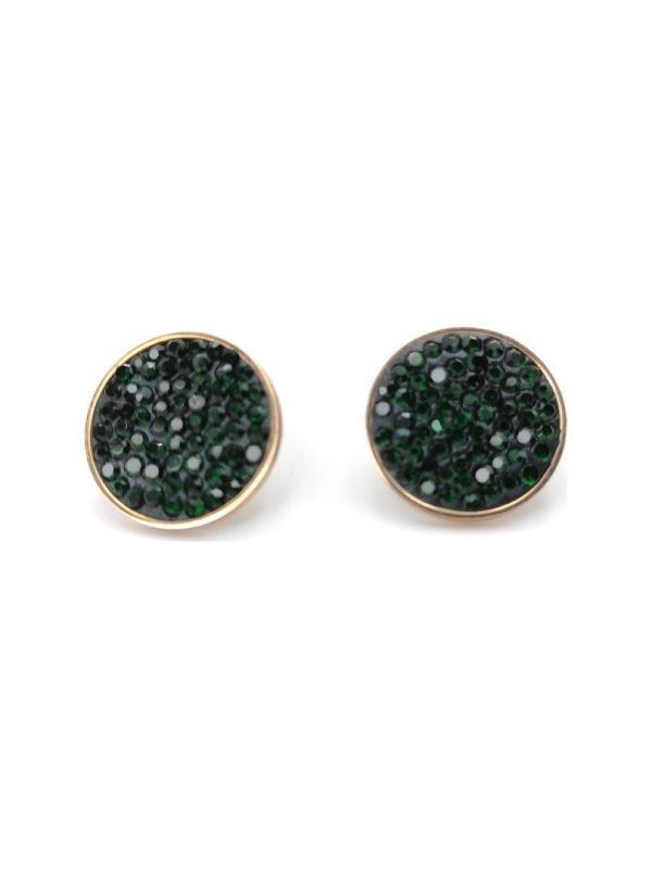 Γυναικεία Σκουλαρίκια χρυσά με πράσινες πέτρες