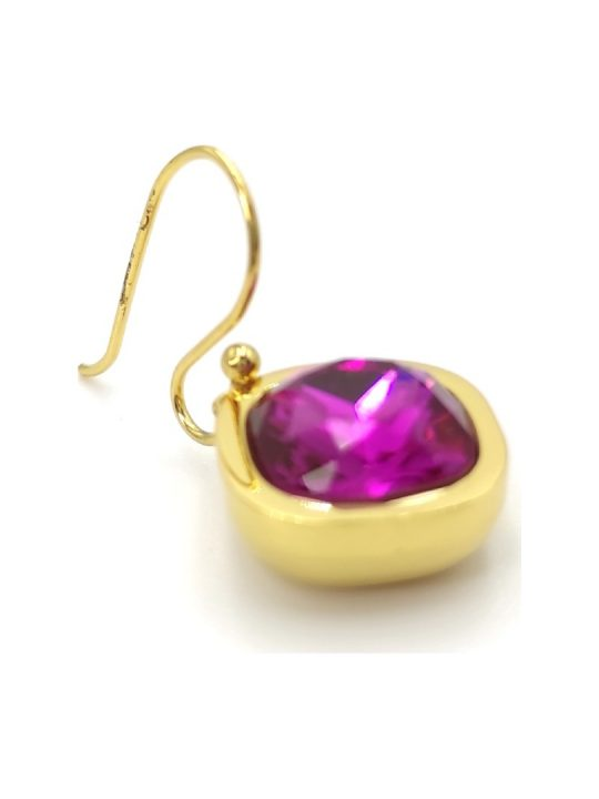 Γυναικεία Σκουλαρίκια χρυσά με μωβ πέτρα
