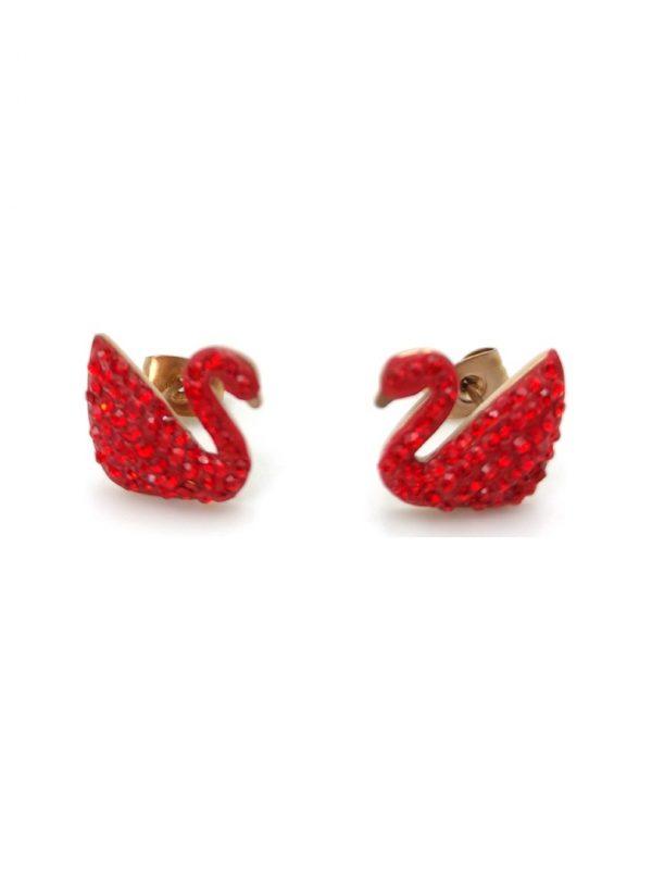 Γυναικεία Σκουλαρίκια σε σχήμα φλαμίνγκο με κόκκινες πέτρες