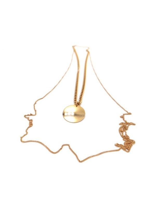 Γυναικείο Κολιέ διπλό χρυσό με κύκλο