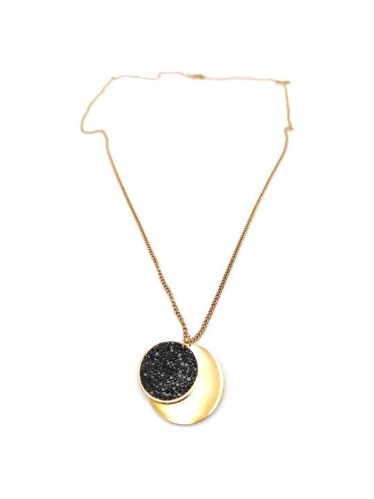 Γυναικείο Κολιέ χρυσό με κύκλους και μαύρες πέτρες