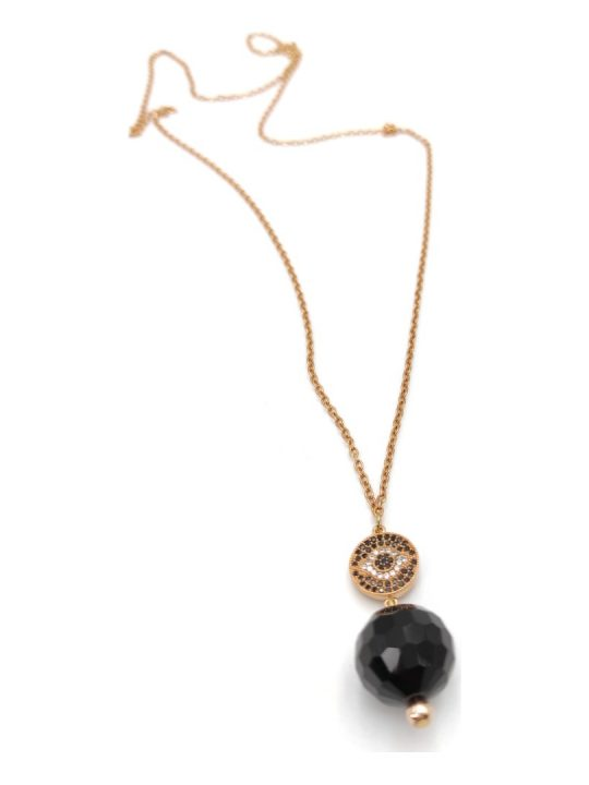Γυναικείο Κολιέ χρυσό με μαύρες πέτρες