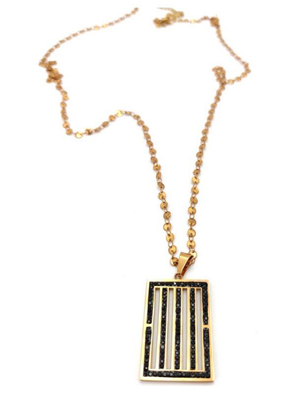 Γυναικείο Κολιέ χρυσό με ορθογώνιο με μαύρες πέτρες