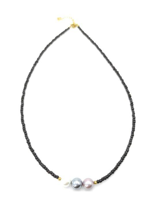 Γυναικείο Κολιέ μαύρο με πολύχρωμες πέτρες