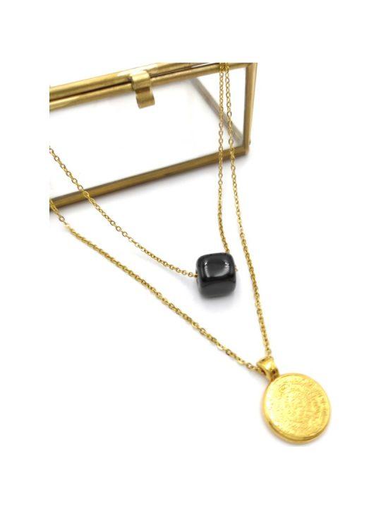Γυναικείο Κολιέ χρυσό διπλό με κύκλο και μαύρη πέτρα