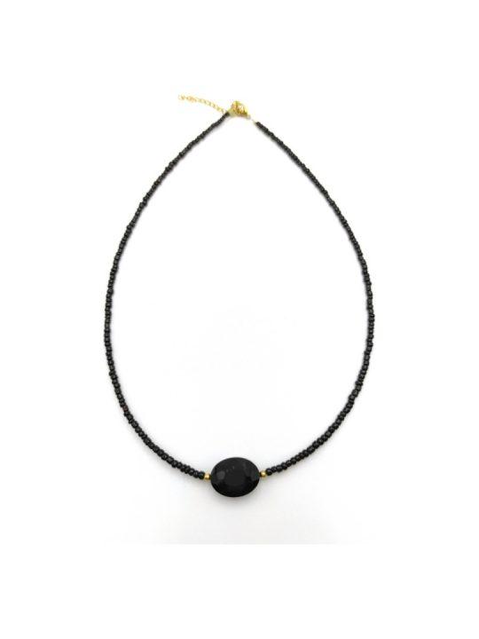 Γυναικείο Κολιέ μαύρο με μαύρη πέτρα