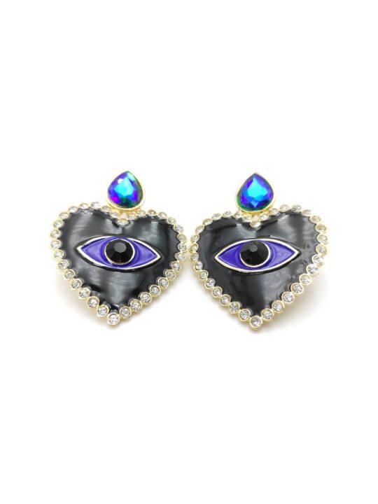 Γυναικεία Σκουλαρίκια με σχήμα καρδιάς και μάτι