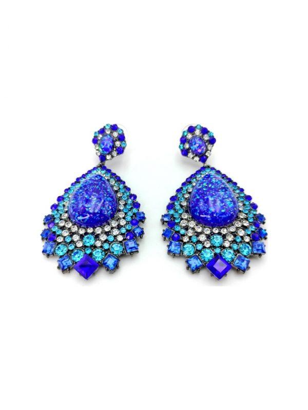 Γυναικεία Σκουλαρίκια κρεμαστά με μπλε πέτρες