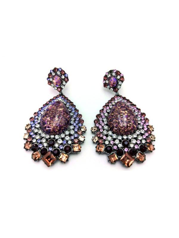 Γυναικεία Σκουλαρίκια κρεμαστά με πολύχρωμες πέτρες