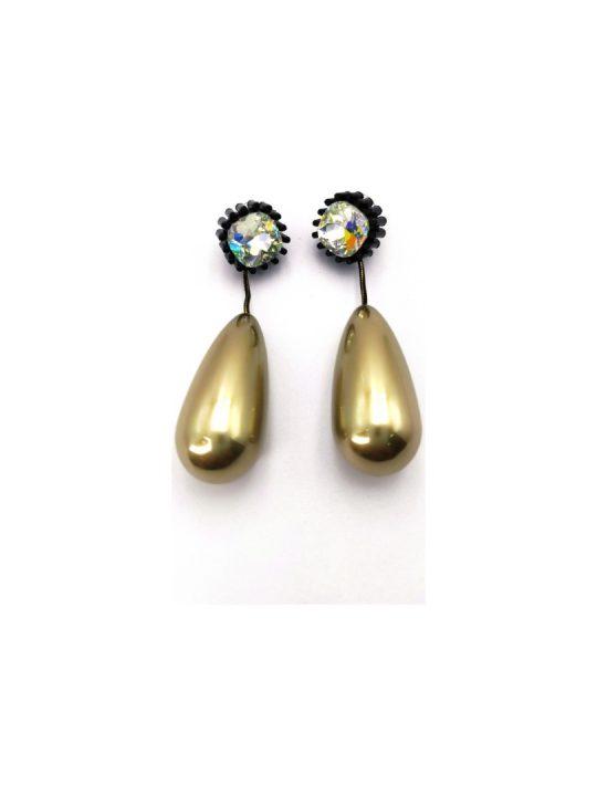 Γυναικεία Σκουλαρίκια με χρυσή πέρλα σε σχήμα σταγόνας