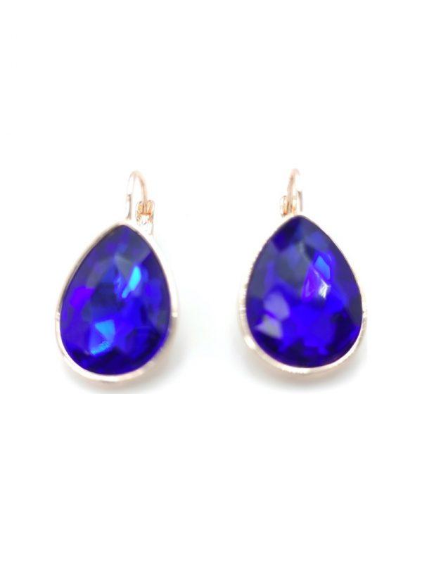 Γυναικεία Σκουλαρίκια με μπλε πέτρα σε σχήμα δάκρυ