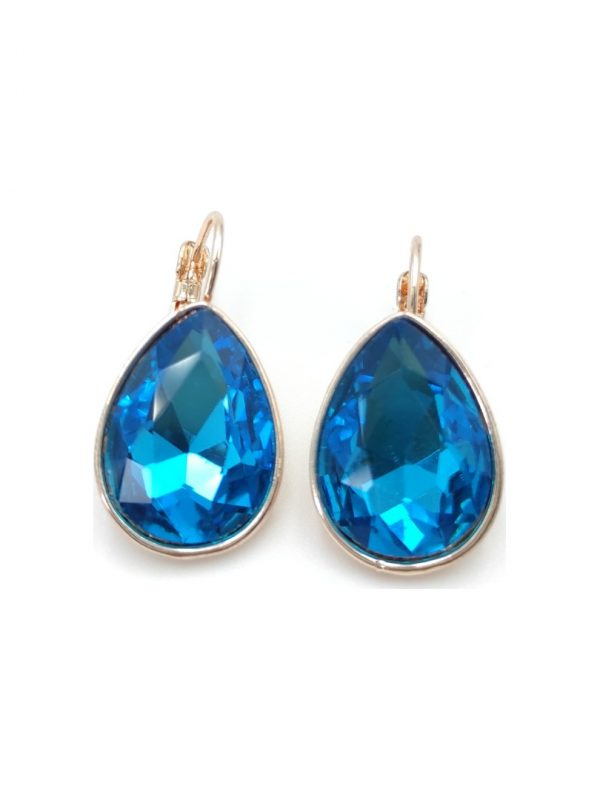 Γυναικεία Σκουλαρίκια με γαλάζια πέτρα σε σχήμα δάκρυ