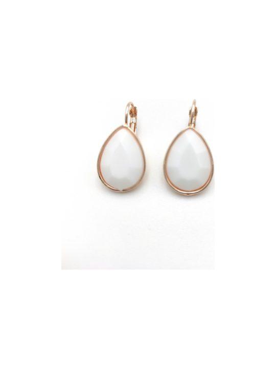 Γυναικεία Σκουλαρίκια με λευκή πέτρα σε σχήμα δάκρυ