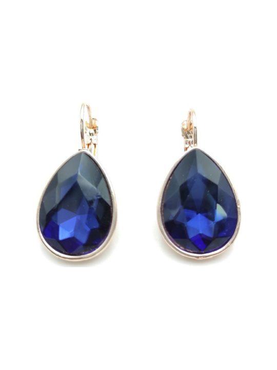 Γυναικεία Σκουλαρίκια με σκούρα μπλε πέτρα σε σχήμα δάκρυ