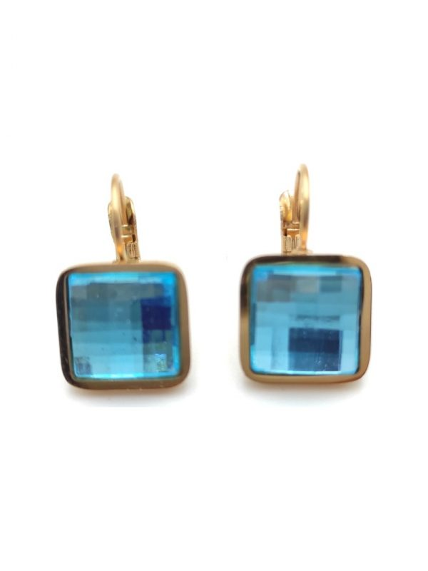 Γυναικεία Σκουλαρίκια τετράγωνα με γαλάζια πέτρα