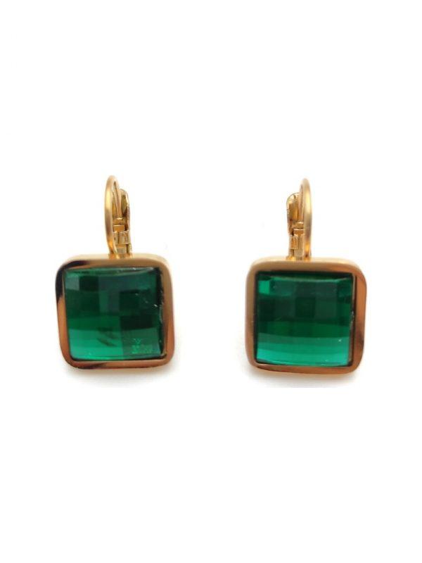 Γυναικεία Σκουλαρίκια τετράγωνα με πράσινη πέτρα