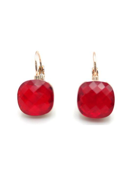 Γυναικεία Σκουλαρίκια τετράγωνα με κόκκινη πέτρα