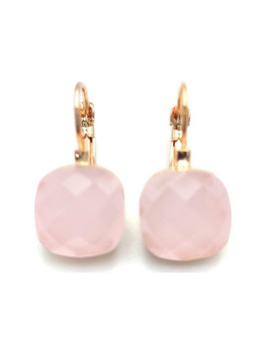 Γυναικεία Σκουλαρίκια τετράγωνα με ροζ πέτρα