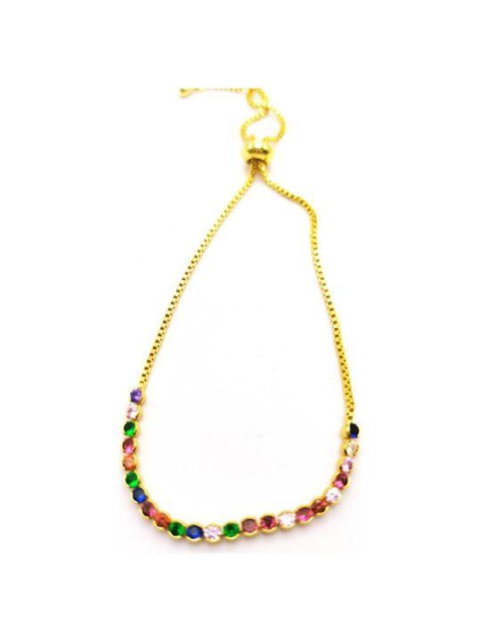 Γυναικείο Βραχιόλι χρυσό με πολύχρωμες πέτρες