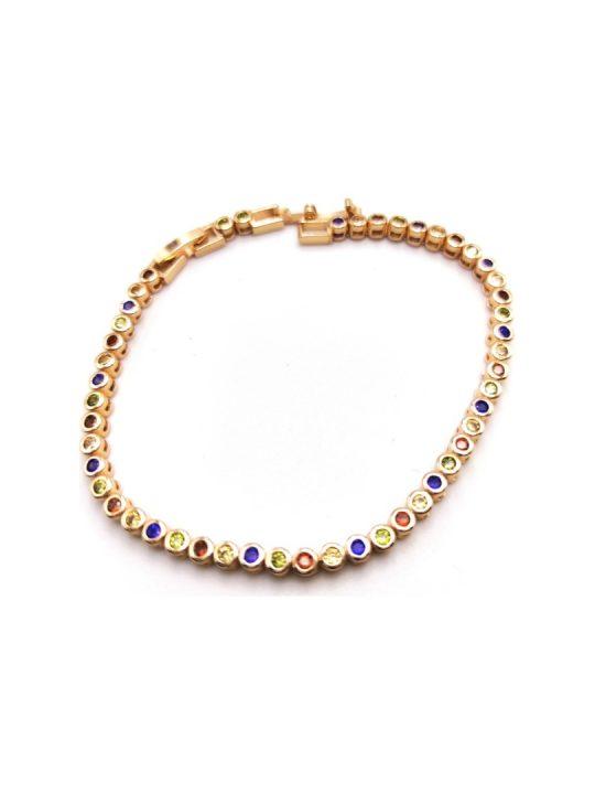 Γυναικείο Βραχιόλι χρυσό με πέτρες σε διάφορα χρώματα