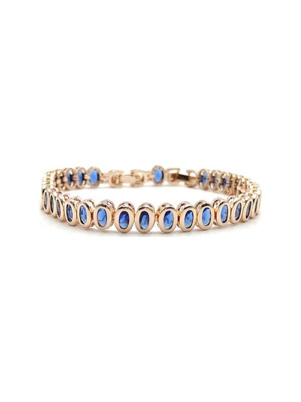 Γυναικείο Βραχιόλι χρυσό με μπλε πέτρες