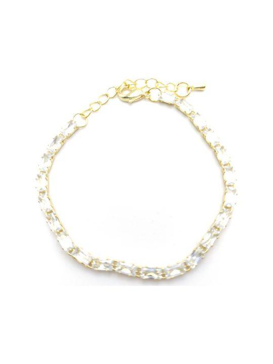 Γυναικείο Βραχιόλι χρυσό με διάφανες πέτρες