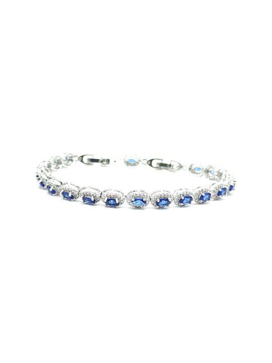 Γυναικείο Βραχιόλι ασημί με οβάλ μπλε πέτρες