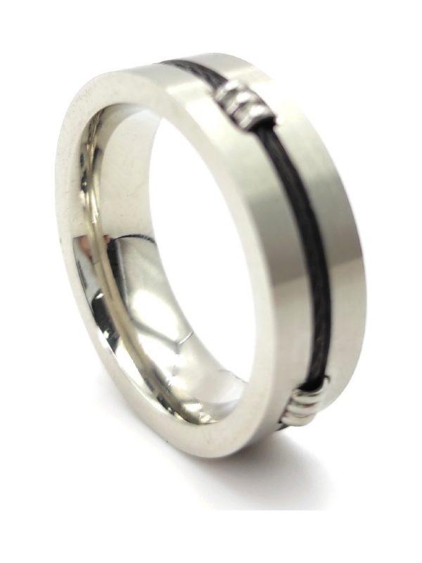 Ανδρικό Δαχτυλίδι ασημί με μαύρη λεπτομέρεια