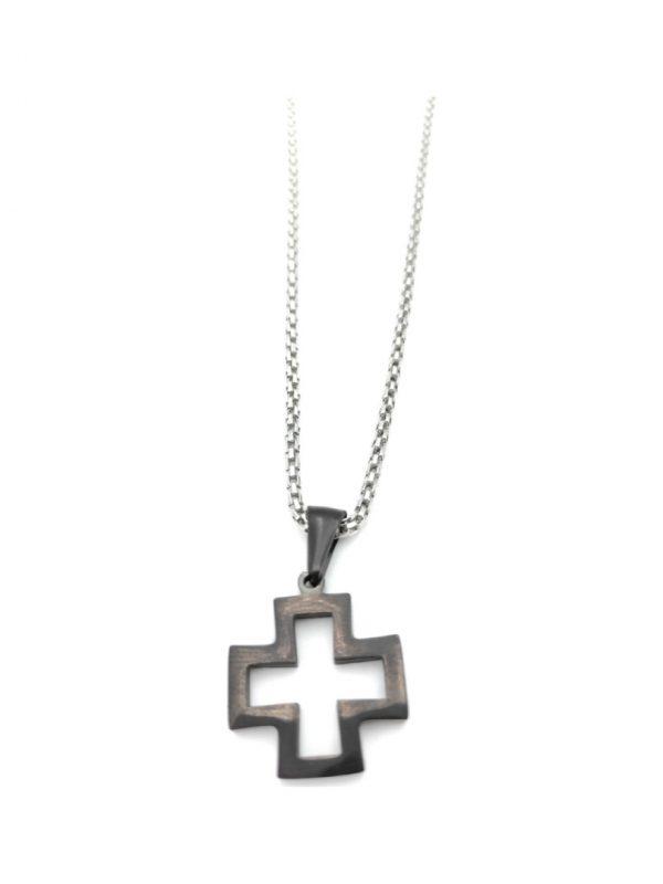 Ανδρικό Κολιέ ασημί με σταυρό