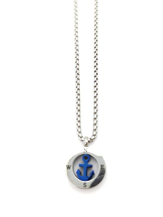 Ανδρικό Κολιέ ασημί πυξίδα με μπλε άγκυρα