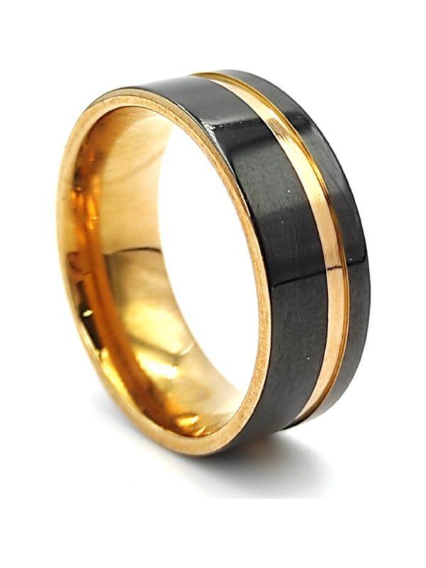 Ανδρικό Δαχτυλίδι μαύρο με χρυσή λεπτομέρεια
