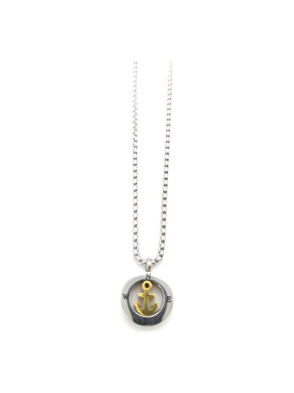 Ανδρικό Κολιέ ασημί πυξίδα με χρυσή άγκυρα
