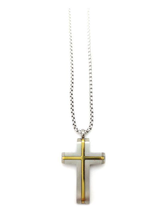 Ανδρικό Κολιέ ασημί με σταυρό με χρυσή λεπτομέρεια