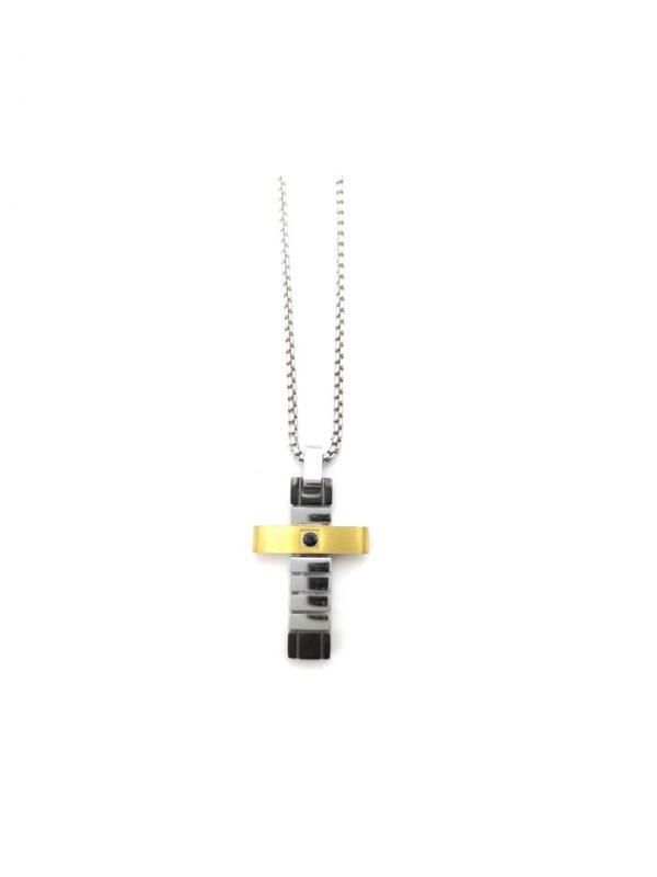 Ανδρικό Κολιέ με ασημί-χρυσό σταυρό