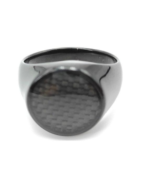 Ανδρικό Δαχτυλίδι ασημί με μαύρη πέτρα