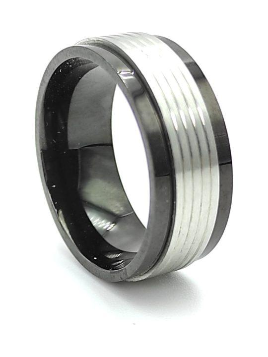 Ανδρικό Δαχτυλίδι μαύρο με ασημί λεπτομέρεια