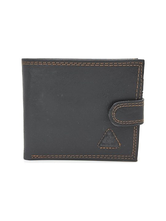 Ανδρικό Πορτοφόλι μαύρο με καφέ λεπτομέρειες