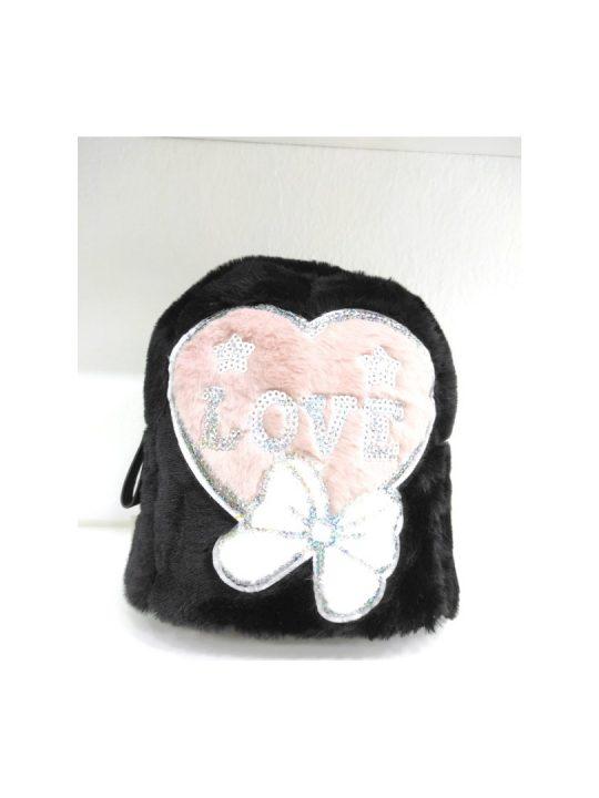 Τσάντα πλάτης μαύρη με ροζ καρδιά