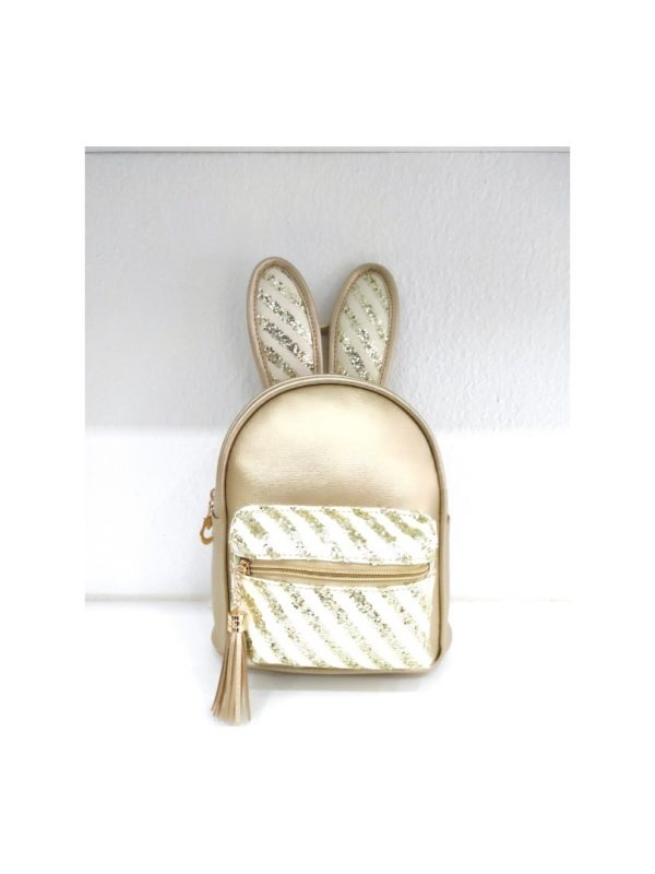 Τσάντα πλάτης χρυσή με αυτιά