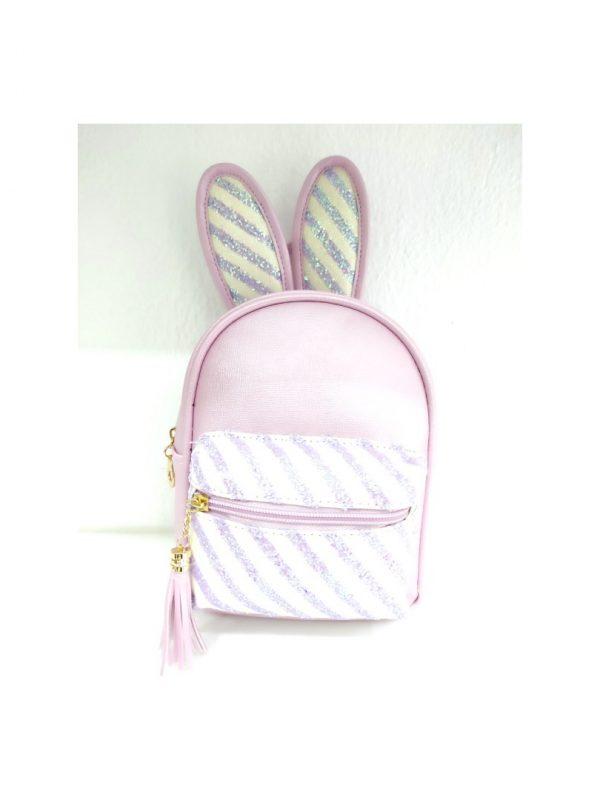 Τσάντα πλάτης ροζ με αυτιά