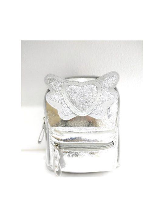 Τσάντα πλάτης ασημί με καρδιά