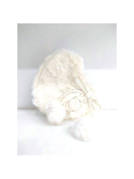 Τσάντα χιαστί γούνινη σε σχήμα καρδιάς σε λευκό χρώμα